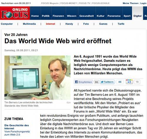 Focus Online -- Vor 20 Jahren: Das World Wide Web wird eröffnet
