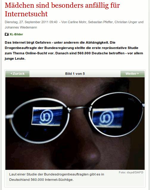 Mädchen sind besonders anfällig für Internetsucht: Das Internet birgt Gefahren -- unter anderem die Abhängigkeit. Die Drogenbeauftragte der Bundesregierung stellte die erste repräsentative Studie zum Thema Online-Sucht vor. Danach sind 560.000 Deutsche betroffen -- vor allem junge Leute