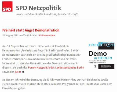 Screenshot der Website der Arbeitsgruppe SPD-Netzpolitik