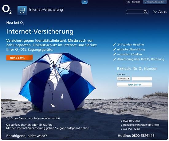 Screenshot der Internet-Versicherung von O2