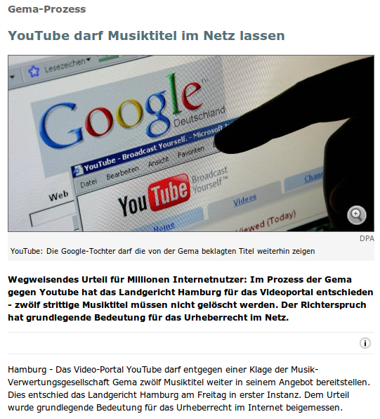 Gema-Prozess: YouTube darf Musiktitel im Netz lassen