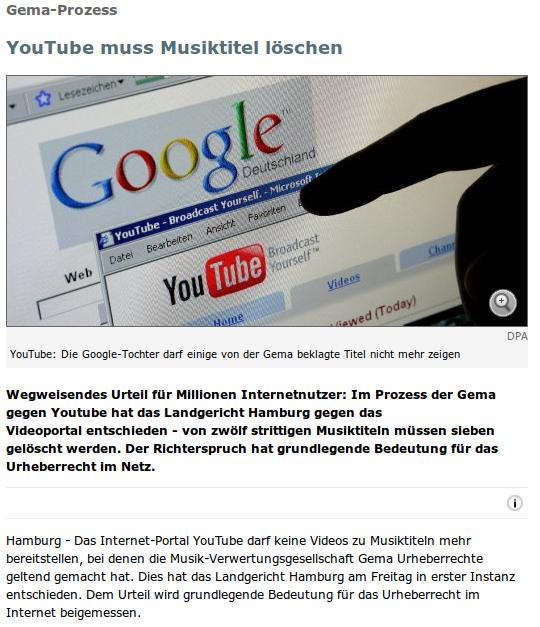 Gema-Prozess: YouTube muss Musiktitel löschen