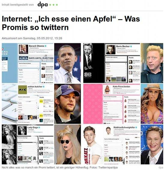 Internet: 'Ich esse einen Apfel' - Was Promis so twittern