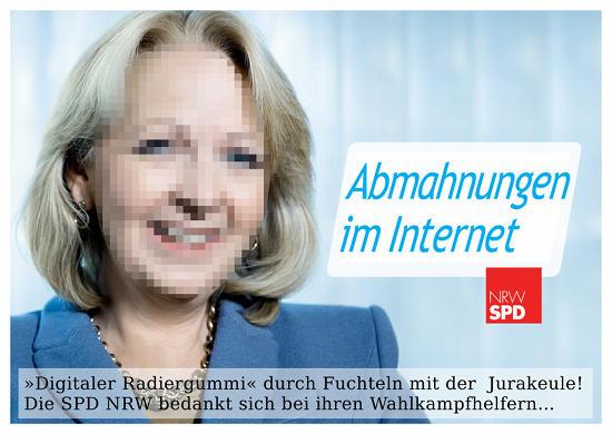 Hannelore Kraft: NRW im Herzen? Nein! Abmahnungen im Internet