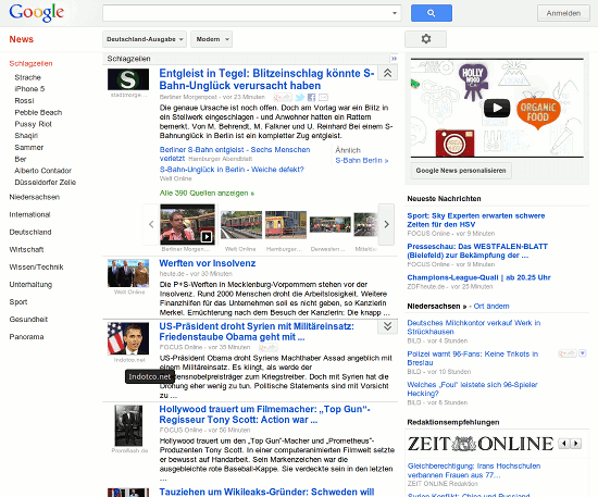 Screenshot Google News