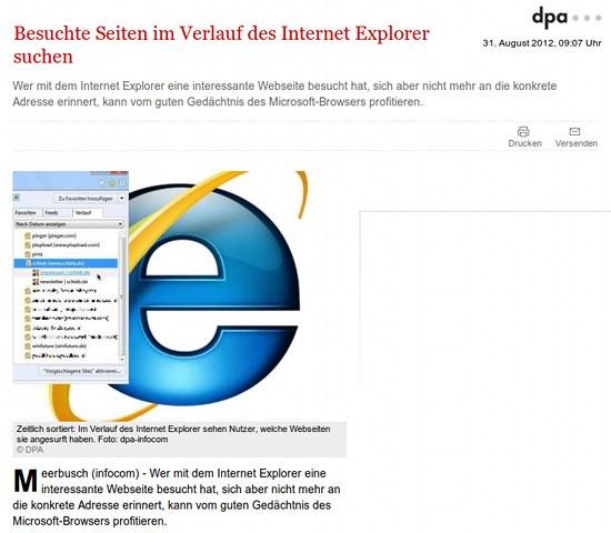 Besuchte Seiten im Verlauf des Internet Explorer suchen -- Wer mit dem Internet Explorer eine interessante Webseite besucht hat, sich aber nicht mehr an die konkrete Adresse erinnert, kann vom guten Gedächtnis des Microsoft-Browsers profitieren.