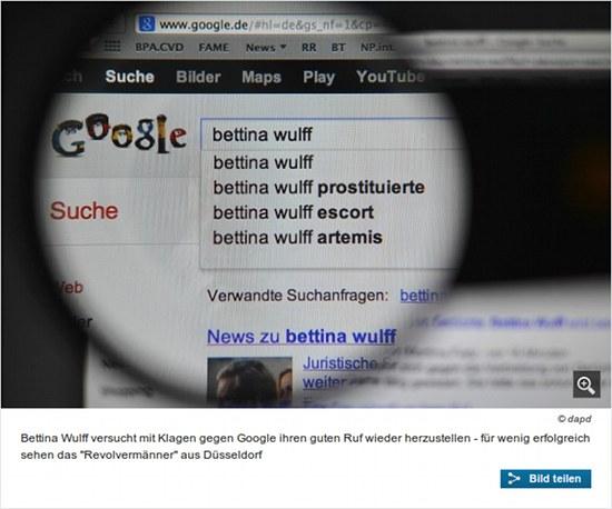 Bettina Wulff versucht mit Klagen gegen Google ihren guten Ruf wiederherzustellen - für wenig erfolgreichen sehen das Revolvermänner aus Düsseldorf