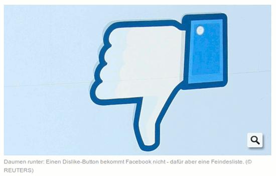 Der Facebook-Daumen auf den Kopf gestellt. Copyright: Reuters