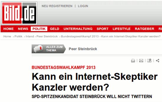 Bundestagswahlkampf 2013: Kann ein Internet-Skeptiker Kanzler werden? SPD-Kanzlerkandidat Steinbrück will nicht twittern