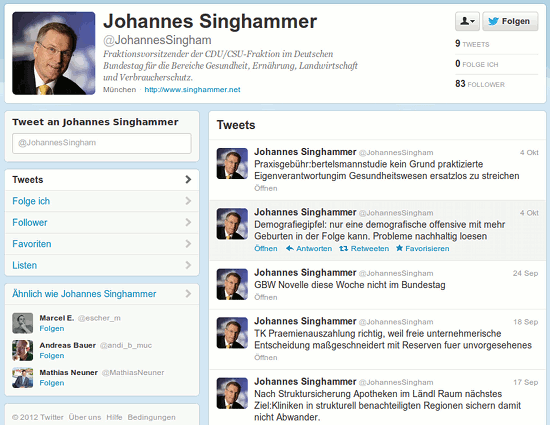Screenshot des Twitter-Profiles von @JohannesSingham