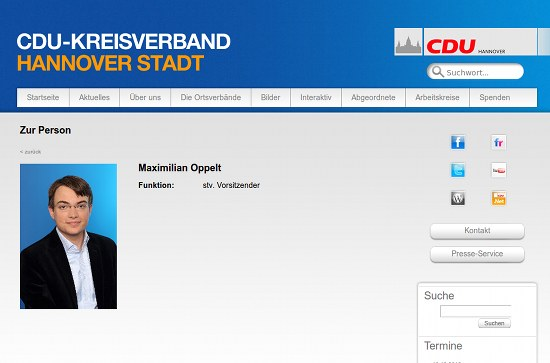 Screenshot der Website des CDU-Kreisverbandes Hannover mit einer sehr leeren Seite zu Herrn Oppelt persönlich