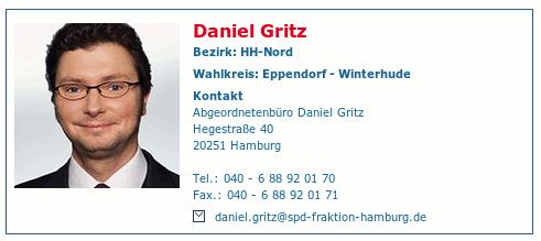 Detail aus der Vorstellung von Daniel Gritz auf der Website der SPD-Bürgerschaftsfraktion in Hamburg