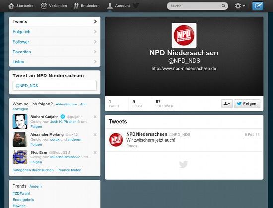 Screenshot des Twitter-Kanales der NPD Niedersachsen mit dem einzigen Tweet vom 8. Februar 2011: Wir zwitschern jetzt auch!