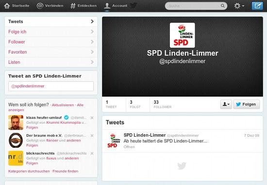 Screenshot des Twitter-Kanales der SPD Linden-Limmer mit exakt einem Tweet vom 7. Dezember 2009: Ab heute twittert die SPD Linden-Limmer