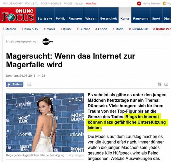 Screenshot Focus Online -- Magersucht: Wenn das Internet zur Magerfalle wird -- Es scheint als gäbe es unter den jungen Mädchen heutzutage nur ein Thema: Dünnsein. Viele hungern sich für ihren Traum von der Top-Figur bis an die Grenze des Todes. Blogs im Internet können dazu gefährliche Unterstützung leisten.