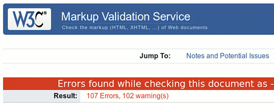 Errors found while checking this document. Result: 107 Errors, 102 Warnings