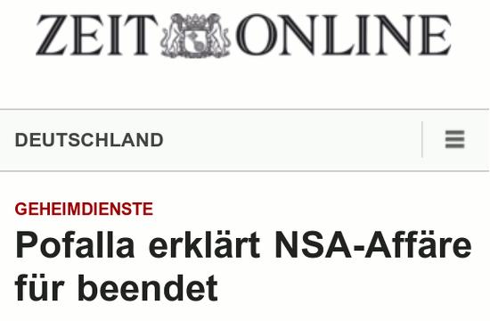 Zeit Online -- Deutschland -- Geheimdienste: Pofalla erklärt NSA-Affäre für beendet