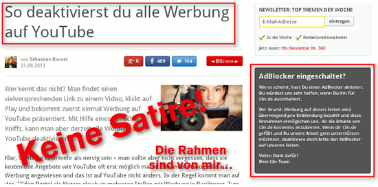 Screenshot eines t3n-Artikels mit einer Anleitung, wie man Werbung auf YouTube unterdrückt -- mit Einblendung eines Hinweises, dass man bitte seinen AdBlocker ausschalten möge, weil sich t3n über Werbung finanziert