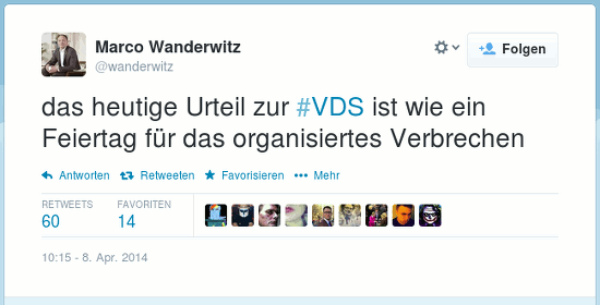 @wanderwitz: das heutige Urteil zur #VDS ist wie ein Feiertag für das organisiertes [sic!] Verbrechen