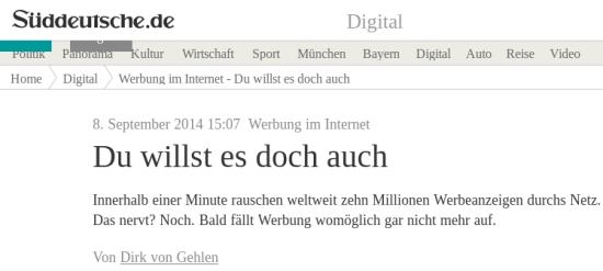 Screenshot einer Schlagzeile von süddeutsche.de -- Werbung im Internet: Du willst es doch auch