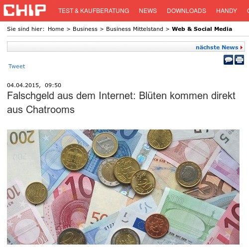 Schlagzeile 'Chip': Falschgeld aus dem Internet: Blüten kommen direkt aus Chatrooms
