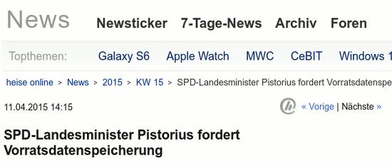 SPD-Landesminister Pistorius fordert Vorratsdatenspeicherung